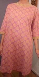 Orvis Tapestry Pattern 3/4 Sleeve Long Tunic Top